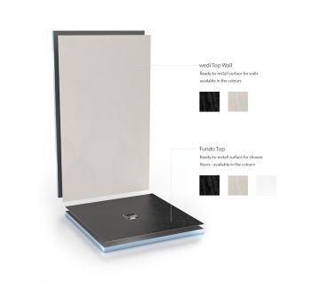 wedi Fundo Top & Slim tray bundle 900x900x30mm Slim tray, centre drain with Fundo Top Natural stone look grey